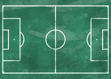 Voetbalgebied op groen bord Stock Fotografie