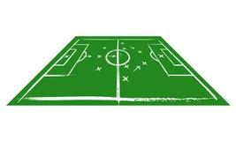 Voetbalgebied in perspectief Opleiding Stock Foto's