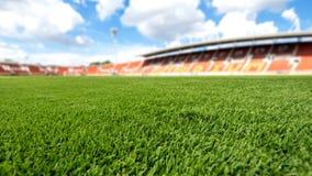 Voetbalgebied, van het achtergrond voetbalgebied textuur stock foto