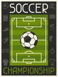 Voetbalkampioenschap Retro affiche in vlak ontwerp stock illustratie