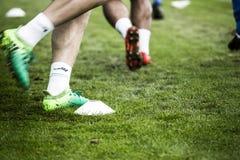 Voetbalkegel en Spelers stock afbeeldingen