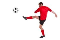 Voetballer die op wit wordt verwijderd Royalty-vrije Stock Fotografie