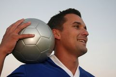 Voetballer en Bal royalty-vrije stock foto