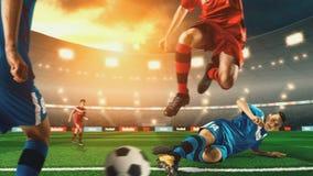 Voetballer het schoppen bal op 3D voetbalstadion stock foto's