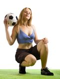 Voetballer met bal stock foto