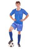 Voetballer met bal Royalty-vrije Stock Afbeelding