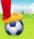 Voetballer met bal Stock Afbeelding