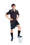 Voetballer met bal Stock Foto's
