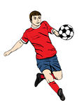 Voetballer met een bal, vectorhandtekening Voetbalster in rode blauwe eenvormige looppas stock illustratie