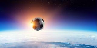 Voetballer op stadion in actie Gemengde media royalty-vrije stock afbeelding
