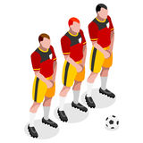 Voetballeratleet Sports Icon Set 3D Isometrisch Voetbal Team Barrier Players Olympics Sportieve Internationale Concurrentie Stock Afbeeldingen