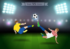 Voetballers Brazilië tegenover Kroatië Stock Fotografie