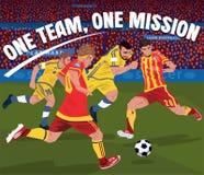 Voetballers die voor bal vechten royalty-vrije illustratie