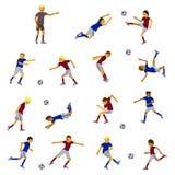 Voetballers en scheidsrechter vector illustratie