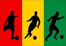 Voetballers en vlag van Guinea Stock Afbeeldingen