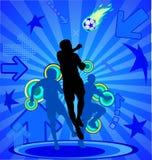 Voetballers op de blauwe abstracte achtergrond Royalty-vrije Stock Foto's