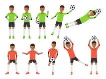 Voetballers, voetbalkeeper in acties Royalty-vrije Stock Afbeelding