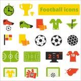 Voetbalpictogrammen geplaatst vlak Stock Fotografie