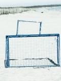 Voetbalpoort op het zandige doel van het strandvoetbal royalty-vrije stock afbeelding