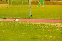 Voetbalpoort op stadion, voetbaldoel stock foto's