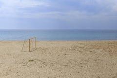 Voetbalpoorten bij strand royalty-vrije stock foto