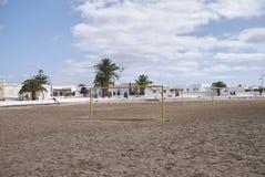 Voetbalspeelplaats in Playa DE Matagorda stock afbeeldingen