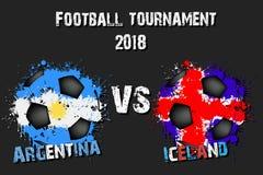 Voetbalspel Argentinië versus IJsland stock illustratie