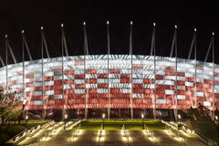 Voetbalstadion bij nacht Stock Foto's