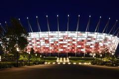 Voetbalstadion bij nacht Stock Fotografie