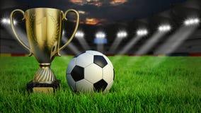 Voetbalstadion met bal en trofeekop royalty-vrije stock afbeeldingen