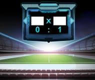 Voetbalstadion met de inzameling nummer 01 van het scorescherm Stock Afbeeldingen