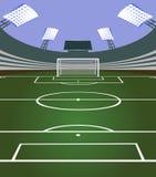 Voetbalstadion met doel Stock Foto's