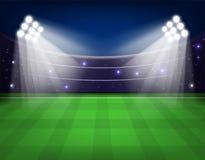 Voetbalstadion met verlichting, groen gras en de Vectorillustratie van de nachthemel royalty-vrije illustratie