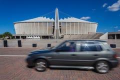 Voetbalstadion Moses Mabhida Vehicle Blur royalty-vrije stock fotografie