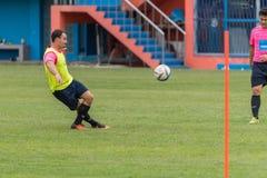Voetbalster in een spel bij voetbalstadion royalty-vrije stock afbeelding