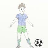 Voetbalster - kind zoals tekening Royalty-vrije Stock Foto's