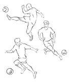 Voetbalsters een silhouet Stock Afbeeldingen