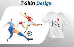 Voetbalsters in het spel, de druk van de sportevenementt-shirt Spot op het malplaatje van het t-shirtontwerp Vector geïsoleerd ma Royalty-vrije Stock Foto's
