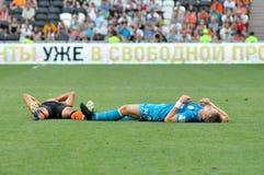 Voetbalsters na botsing royalty-vrije stock afbeeldingen