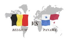 Voetbaltoernooien Rusland 2018 De Realistic Football ballen van groepsg België versus Panama royalty-vrije illustratie