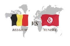 Voetbaltoernooien Rusland 2018 De Realistic Football ballen van groepsg België versus Tunesië Stock Foto