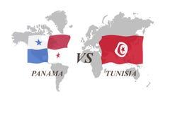 Voetbaltoernooien Rusland 2018 De Realistic Football ballen van groepsg Panama versus Tunesië Royalty-vrije Stock Foto's