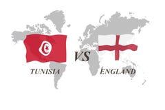 Voetbaltoernooien Rusland 2018 De Realistic Football ballen van groepsg Tunesië versus Engeland Royalty-vrije Stock Afbeelding