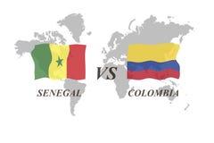 Voetbaltoernooien Rusland 2018 De Realistic Football ballen van groepsh Senegal versus Colombia stock illustratie