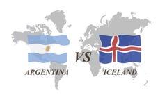 Voetbaltoernooien Rusland 2018 groep D Argentinië versus IJsland stock illustratie