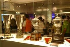 Voetbaltrofeeën in Real Madridtentoonstelling Royalty-vrije Stock Foto