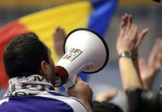 Voetbalventilator met megafoon Royalty-vrije Stock Foto's