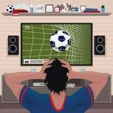 Voetbalventilator in wanhoop na doel royalty-vrije illustratie