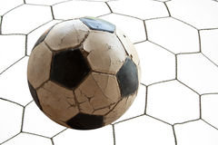 Voetbalvoetbal in netto Doel Royalty-vrije Stock Afbeelding