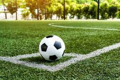 Voetbalvoetbal op de lijn van de Hoekschop royalty-vrije stock afbeelding
